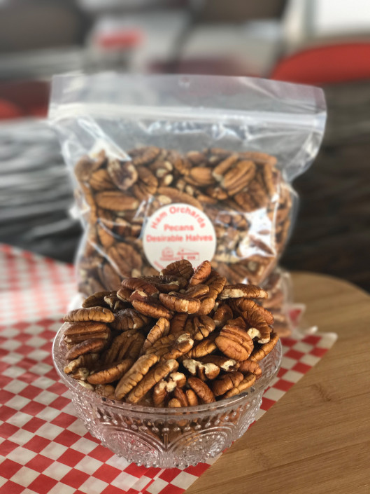 Bag of shelled and halved pecans
