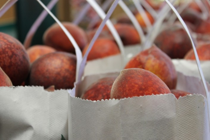 Bags of fresh picked peaches