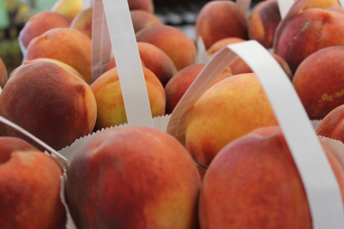 Bag of fresh picked peaches