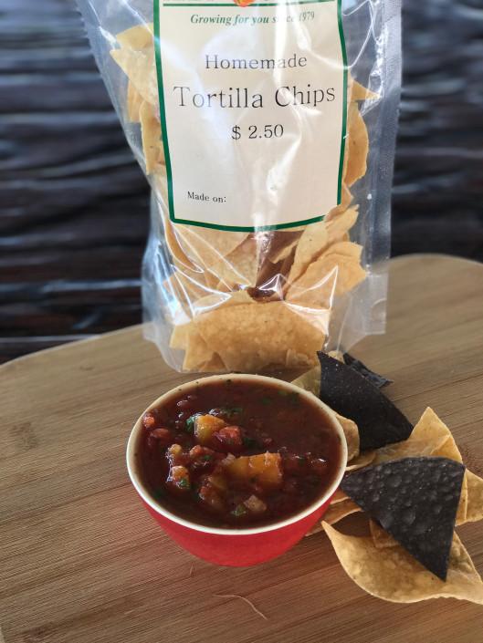 Bag of homemade tortilla chips and fresh bowl of salsa