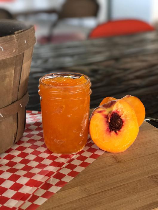 Jar of peach jam