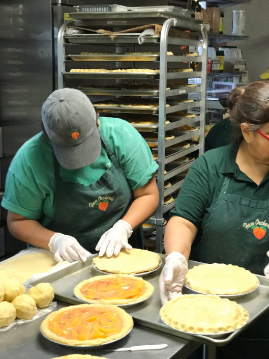 Preparing peach pie crust